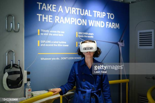 Shadow Secretary of State for women and equalities, and Labour chair Anneliese Dodds tries a virtual tour using a Vive headset during a visit to the...
