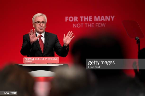 Shadow Shadow Chancellor John McDonnell delivers his keynote speech on the third day of the Labour Party conference on September 23 2019 in Brighton...