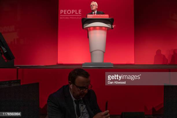 Shadow Shadow Chancellor John McDonnell waits to deliver his keynote speech on the third day of the Labour Party conference on September 23 2019 in...