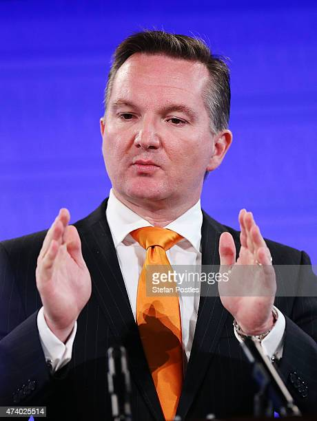 Shadow Treasurer Chris Bowen gives his budget reply address at the National Press Club on May 20 2015 in Canberra Australia The Labor Party assert...