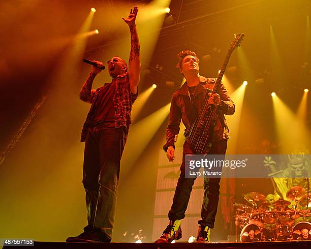 M Shadows and Synyster Gates of Avenged Sevenfold perform at Hard Rock Live in the Seminole Hard Rock Hotel Casino on April 30 2014 in Hollywood...
