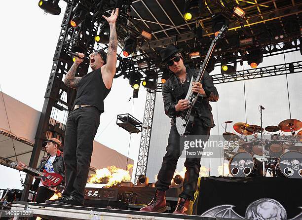 M Shadows and Synyster Gates of Avenged Sevenfold perform during the 2012 Orion Music More Festival at Bader Field on June 24 2012 in Atlantic City...
