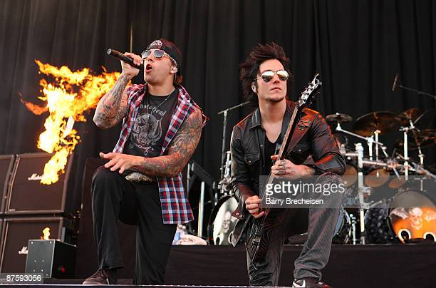 M Shadows and Synyster Gates of Avenged Sevenfold perform during the 2009 Rock On The Range festival at Columbus Crew Stadium on May 17 2009 in...