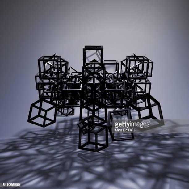 shadows cubes c3 - skulptur kunstwerk stock-fotos und bilder