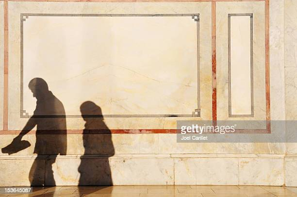shadows in middle east (umayyad mosque in damascus, syria) - damascus stock pictures, royalty-free photos & images