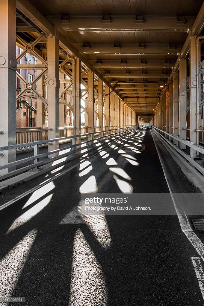 Shadows in the High Level Bridge-Newcastle. : Stock Photo