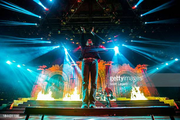 M Shadows of Avenged Sevenfold performs during the Hail to the King Tour at Joe Louis Arena on October 13 2013 in Detroit Michigan