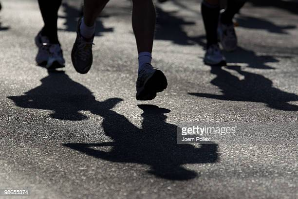 Shadows of participants are seen during the Moebel Kraft Marathon on April 25 2010 in Hamburg Germany