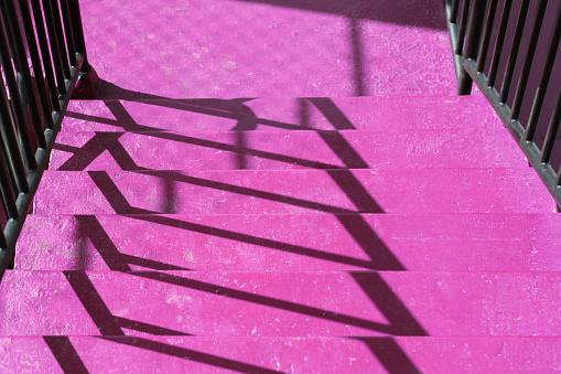 Shadows on outdoor painted concrete steps - gettyimageskorea