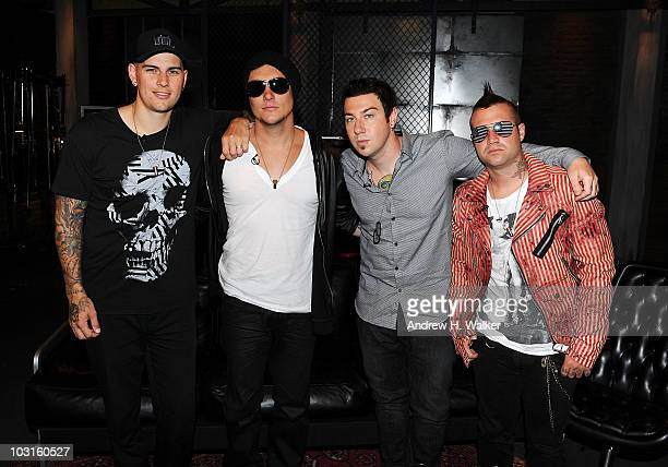 M Shadows Synyster Gates Zacky Vengeance and Johnny Christ of the band Avenged Sevenfold visit fuse Studios on July 29 2010 in New York City