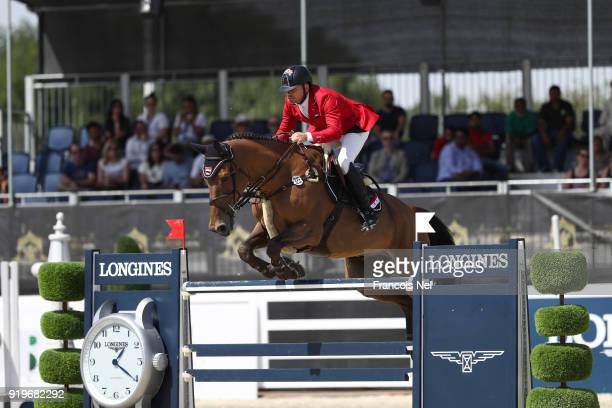 Shady Ghrayeb of Syria Dollar van het Polderhof during The President of the UAE Show Jumping Cup at Al Forsan on February 17 2018 in Abu Dhabi United...