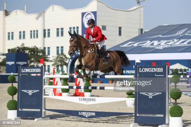 Shady Ghrayeb of Syria rides Dollar van het Polderhof during The President of the UAE Show Jumping Cup at Al Forsan on February 17 2018 in Abu Dhabi...