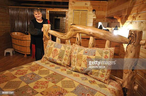 Shady Lady Ranch owner and operator Bobbi Davis poses in the newly built working cabin for her future male prostitutes at the brothel in Nye County...