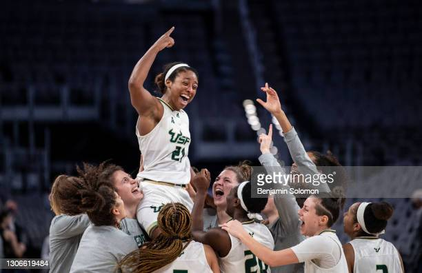 Shae Leverett of the South Florida Bulls reacts after winning the American Athletic Conference Women's Basketball Championship game against the UCF...