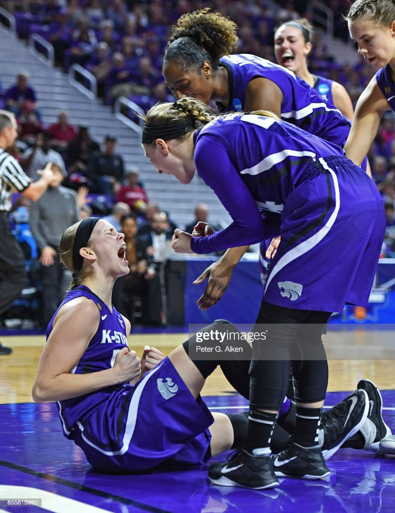Shaelyn Martin #50 of the Kansas State Wildcats reacts after a play with her teammates against the Stanford Cardinal during the second round of the 2017 NCAA Women's Basketball Tournament at Bramlage Coliseum on March 20, 2017 in Manhattan, Kansas.