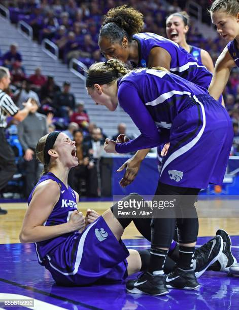 Shaelyn Martin of the Kansas State Wildcats reacts after a play with her teammates against the Stanford Cardinal during the second round of the 2017...