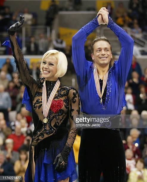 Shae-Lynn Bourne and Victor Kraatz of Canada celebrate wining the gold medal in the Ice Dancing Free Dance at the 2003 World Figure Skating...