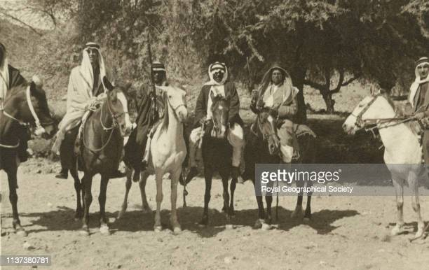 Shafa four horsemen George Rendel on left and Shaikh Hafiz Wahba second from right alTaif Hijaz Saudi Arabia Artist George Rendel