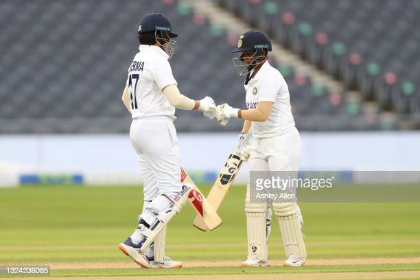 Shafali Verma and Deepti Sharma of India build a partnership on Day Three of the LV= Insurance Test Match between England Women and India Women at...