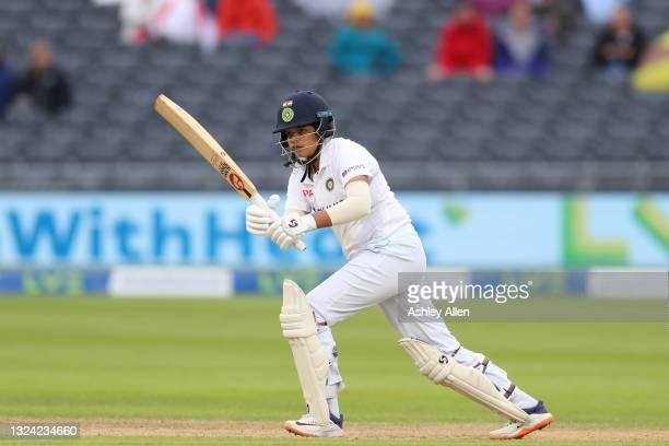 Shafali Verma of India batting on Day Three of the LV= Insurance Test Match between England Women and India Women at the Bristol County Ground on...