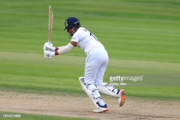 Shafali Verma of India hits four on Day Three of the LV= Insurance Test Match between England Women and India Women at the Bristol County Ground on...