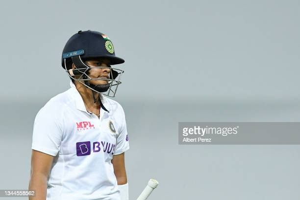 Shafali Verma of India walks off the field after being dismissed during day four of the Women's International Test Match between Australia and India...