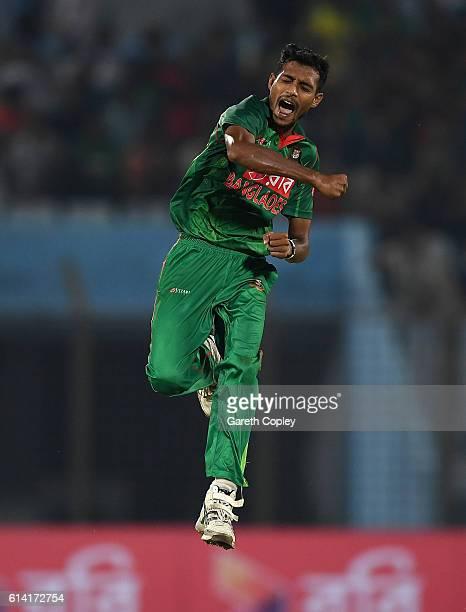 Shafiul Islam of Bangladesh celebrates dismissing Jonathan Bairstow of England during the 3rd One Day International match between Bangladesh and...