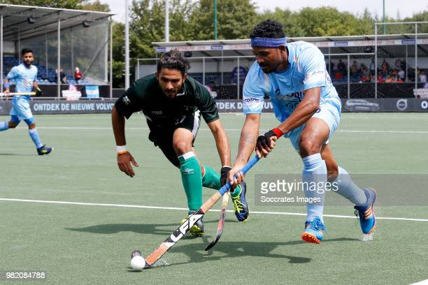 Mandeep Singh of India celebrates 30 during the Champions Trophy match between India v Pakistan at the Hockeyclub Breda on June 23 2018 in Breda...