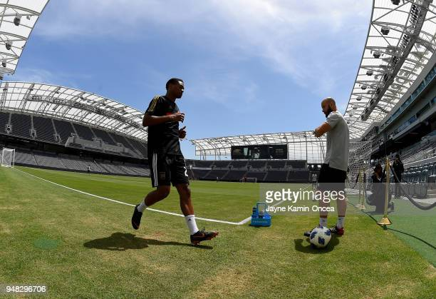 Shaft Brewer Jr #28 of the Los Angeles FC practices for the first time on the field at the Banc of California Stadium on April 18 2018 in Los Angeles...