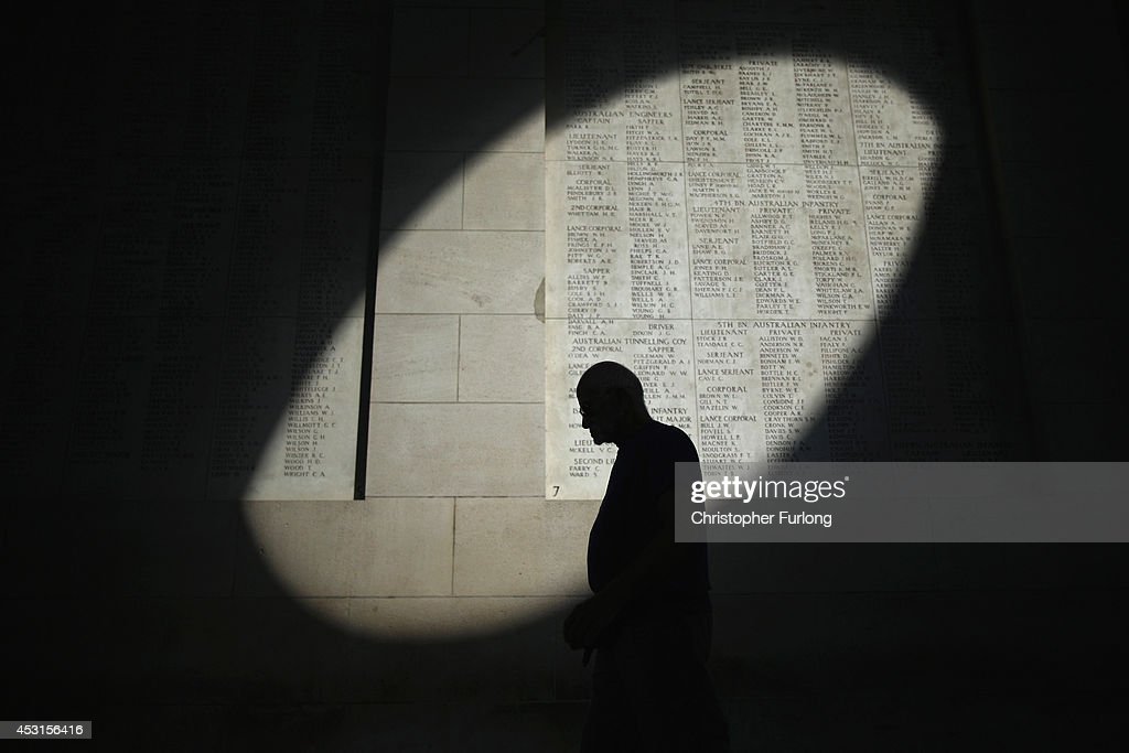A shaft of sunlight falls on the names of the missing at the Menin Gate Memorial on the centenary of the Great War on August 4, 2014 in Ypres, Belgium. Today marks the 100th anniversary of Great Britain declaring war on Germany. In 1914 British Prime Minister Herbert Asquith announced at 11 pm that Britain was to enter the war after Germany had violated Belgium neutrality. The First World War or the Great War lasted until 11 November 1918 and is recognised as one of the deadliest historical conflicts with millions of causalities. A series of events commemorating the 100th anniversary are taking place throughout the day.
