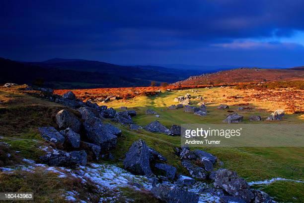 CONTENT] A shaft of sunlight illuminates winter moorland near Holwell Tor