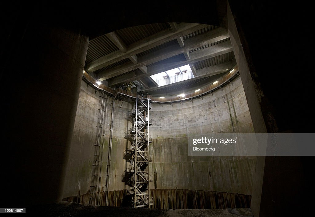 A shaft, which channels flood water, stands in the Metropolitan Area Outer Underground Discharge Channel in Kasukabe City, Saitama Prefecture, Japan, on Wednesday, Nov. 21, 2012. The facility called 'Underground Temple' was constructed to protect the capital Tokyo against flooding and is one of the largest underground water diversion facilities in the world. Photographer: Tomohiro Ohsumi/Bloomberg via Getty Images