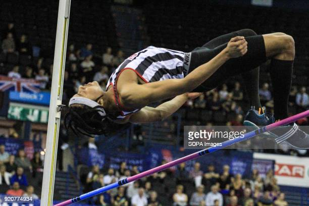 Shaftesbury and Barnet's Akin Coward jumps during the high jump in Birmingham England at the British Indoor Championships