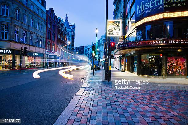 shaftesbury avenue london uk at dawn - west end london stock pictures, royalty-free photos & images