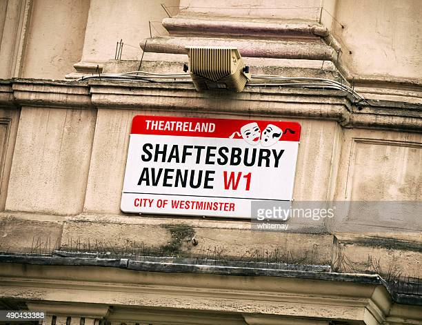 shaftesbury avenue street sign, london - shaftesbury avenue london stock photos and pictures