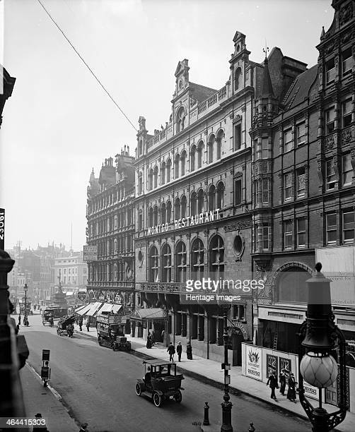 Shaftesbury Avenue Westminster London 1915 Looking towards Piccadilly Circus with the Monico Restaurant on the right The street looks quiet A man in...