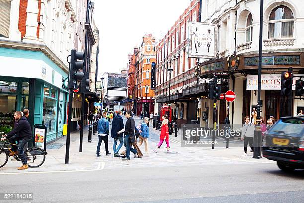 shaftsbury avenue and rupert street in london - shaftesbury avenue london stock photos and pictures