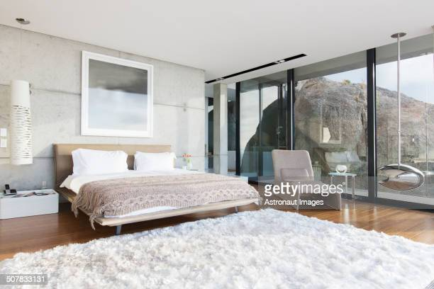 Shag rug in modern bedroom