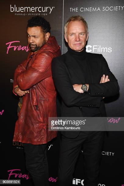 Shaggy and Sting attend the premiere of IFC Films' 'Freak Show' hosted by The Cinema Society at Landmark Sunshine Cinema on January 10 2018 in New...