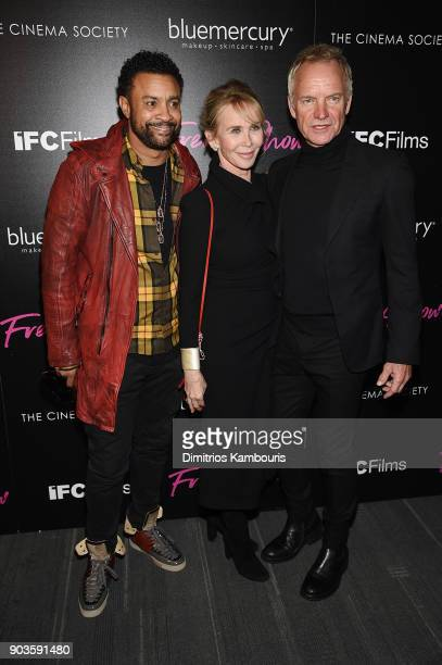 Shaggy Trudie Styler and Sting attend the premiere of IFC Films' 'Freak Show' hosted by The Cinema Society at Landmark Sunshine Cinema on January 10...