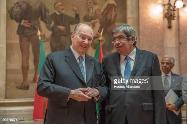 Shah Karim AlHussaini Prince Aga Khan IV and the President of the Assembleia da Republica Eduardo Ferro Rodrigues chat after the signature of the...
