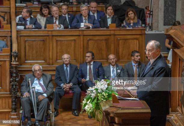 Shah Karim AlHussaini Prince Aga Khan IV delivers the keynote speech in the senate hemicycle during the welcoming ceremony at the parliament within...