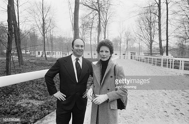 Shah Karim alHussayni Aga Khan IV with his English first wife Princess Salimah Aga Khan at a stud farm near Paris 5th April 1977