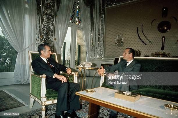 Shah of Iran Mohammad Reza Pahlavi meets French Former Prime Minister and President of the Rally for the Republic Jacques Chirac