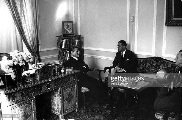 Shah of Iran Muhammad Reza Pahlavi recieves Peace Corps founder and president Sargent Shriver during the latter's aroundtheworld trip to visit Peace...