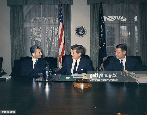 Shah of Iran President John F Kennedy Secretary of Defence Robert McNamara in Washington DC 1962