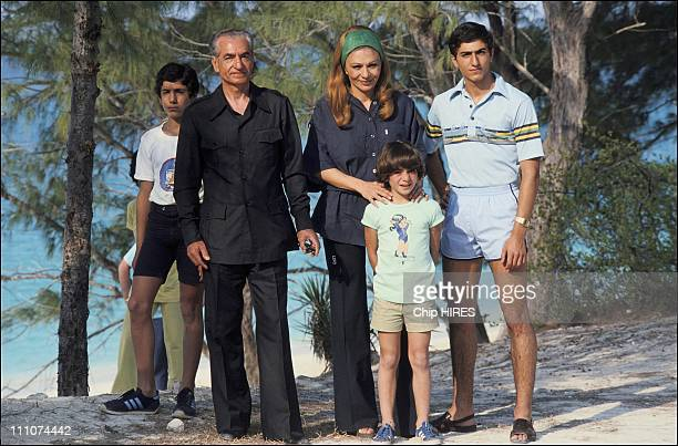 Shah of Iran with Empress Farah Pahlavi and their children on exile in Bahamas in 1979