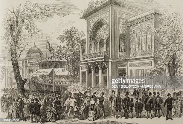 Shah of Persia Naser alDin Shah Qajar at the pavilion in the park the Vienna World Exposition Austria illustration from the magazine The Illustrated...