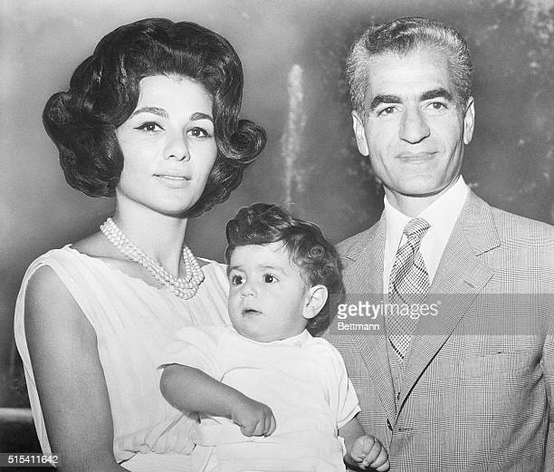 9/19/1961 Shah Reza Pahlevi of Iran is shown with his wife Queen Farah Diba and their son young Crown Prince Reza in the latest portrait of the...