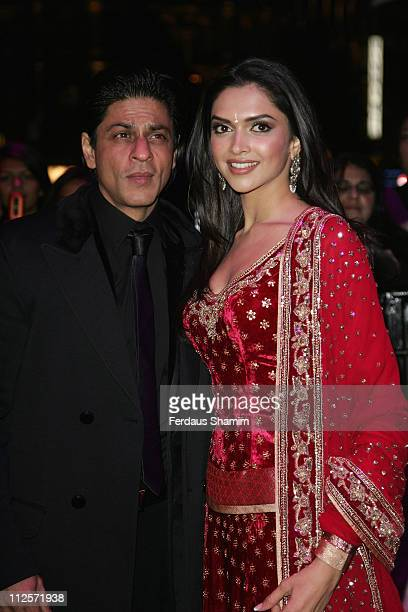 Shah Rukh Khan and Deepika Padukone attend the World Premiere of Om Shanti Om at the Empire Leicester Square on November 8 2007 in London